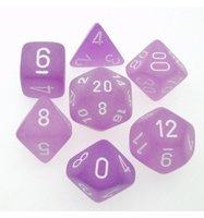 Dobbelstenen Frosted Purple/White Polydice (7 stuks)