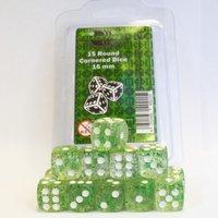 Dobbelsteen Glitter Green/White - D6 - 16mm