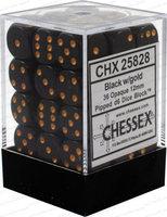 Dobbelsteen Opaque Black/Gold - D6 - 12mm