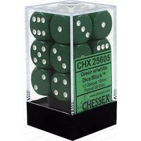 Dobbelsteen Opaque Green/White - D6 - 16mm