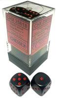 Dobbelsteen Opaque Black/Red - D6 - 16mm