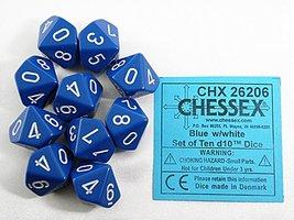 Dobbelsteen Opaque Blue/White D10