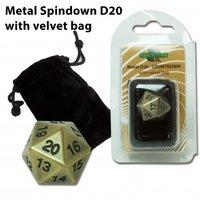 D20 Metal Spindown with Velvet Bag (Antique Gold)