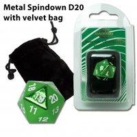 D20 Metal Spindown with Velvet Bag (Green)