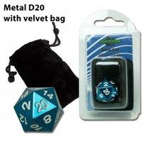 D20 Metal Die with Velvet Bag (Blue)