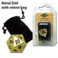 D20 Metal Die with Velvet Bag (Gold)