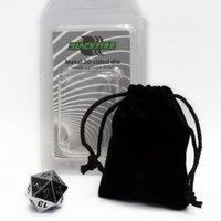 D20 Metal Die with Velvet Bag (Silver)