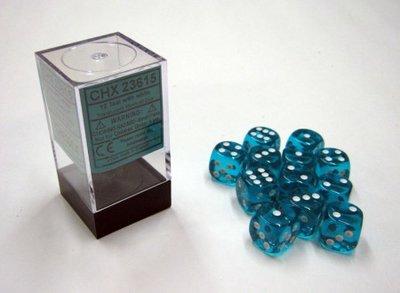 Dobbelsteen Translucent Teal/White - D6 - 16mm