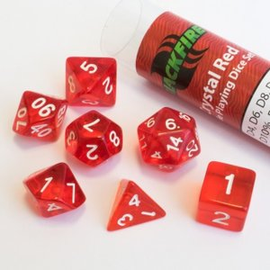 Dobbelstenen Crystal Red Polydice (7 stuks)