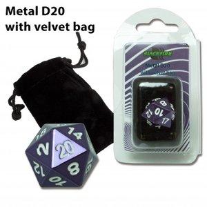 D20 Metal Die with Velvet Bag (Purple)
