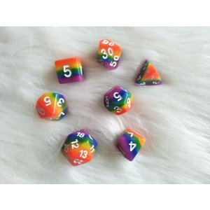 Dobbelstenen Rainbow Polydice (7 stuks)
