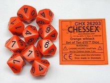 Dobbelsteen Opaque Orange/Black D10