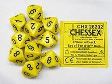 Dobbelsteen Opaque Yellow/Black D10
