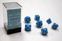 Dobbelstenen Licht Blue/White Polydice (7 stuks)