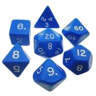 Dobbelstenen Opaque Blue/White Polydice (7 stuks)