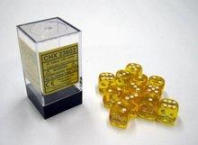 Dobbelsteen Translucent Yellow/White - D6 - 16mm