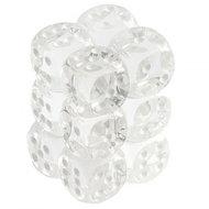 Dobbelsteen Translucent Clear/White - D6 - 16mm