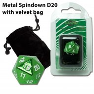 D20 Metal Spindown with Velvet Bag (Green)